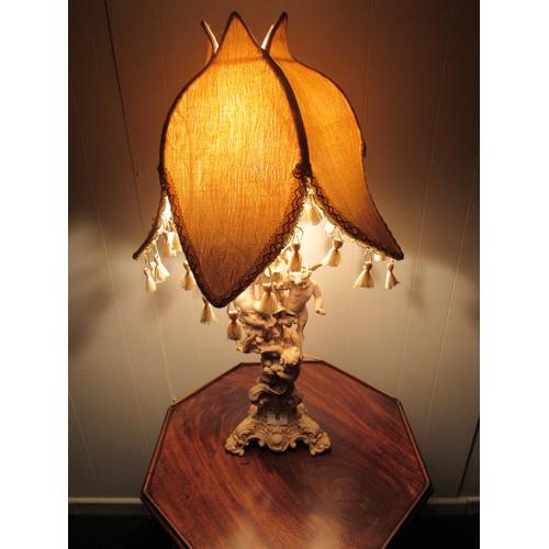 6 - Vintage, resin, cherub, table lamp with tulip shade 73cm high...