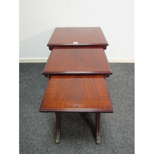 8 - Stag, mahogany, nest of tables. Large 53cm w, 47cm d, 50cm h Medium 44cm w, 45cm d, 48cm h Small 36c...