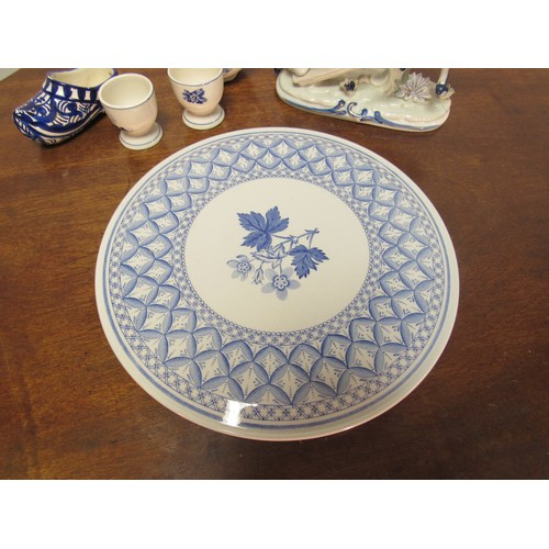15 - Spode blue and white cake charger, girl and boy on a swing (girl has finger missing), collection of ...