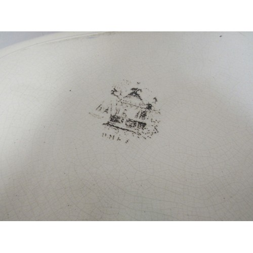 16 - Brown and white large charger and two Mason's plates depicting images of boats....