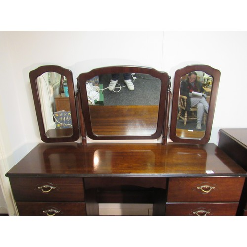 17 - Mahogany dressing table with tri mirror top. 137cm w, 42cm d, 123cm h to top of mirror...
