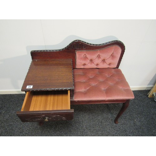 20 - Vintage. mahogany, telephone table with single drawer. 85cm w, 78cm h, 37cm d...