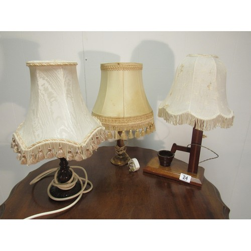24 - 3 vintage table lamps...
