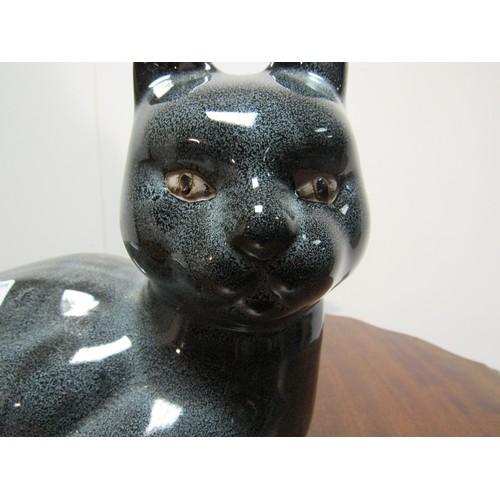 26 - Black ceramic cat in excellent condition. 29cm w, 23cm w...