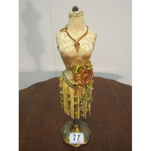 27 - Art Deco style, brass based, necklace stand...
