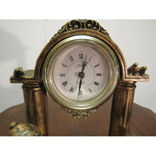 30 - Resin Art Deco style clock featuring a mother and two children in Greek classical robes, astride two...