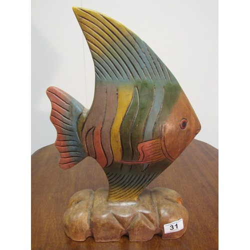 31 - Large, vintage, solid wood, rainbow fish 38cm h, 34cm w...
