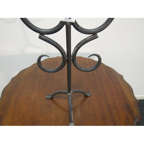 32 - Large, Gothic style, cast iron, candle stick, with double grate for church candles. 58cm h, 34cm w...
