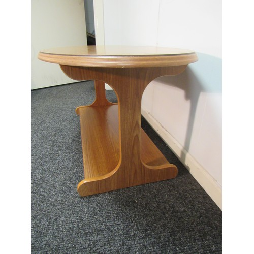 33 - Mid Century style, two tier, oval, coffee table. 118cm w, 59cm d, 49cm h...