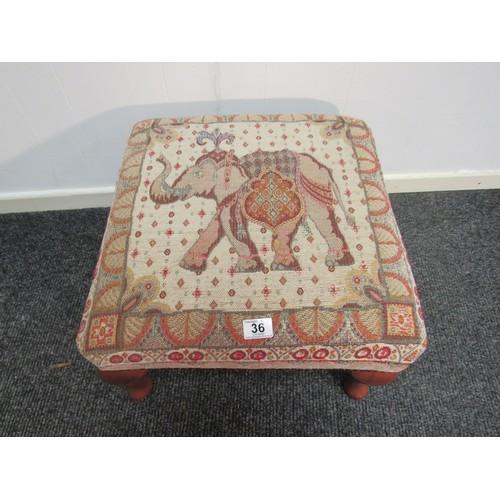 36 - A fine Stuart Jones tapestry foot stool 49cm square, 24cm h...