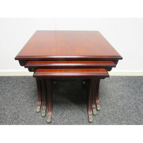 37 - Stag, mahogany, nest of tables. Large 53cm w, 47cm d, 50cm h Medium 44cm w, 45cm d, 48cm h...