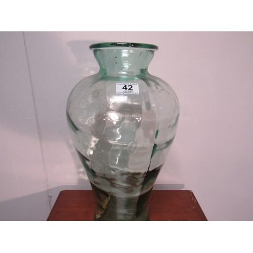 42 - Large glass vase. 45cm h...