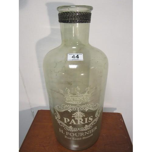 45 - Vintage, French, etched, large glass bottle. 48cm h...