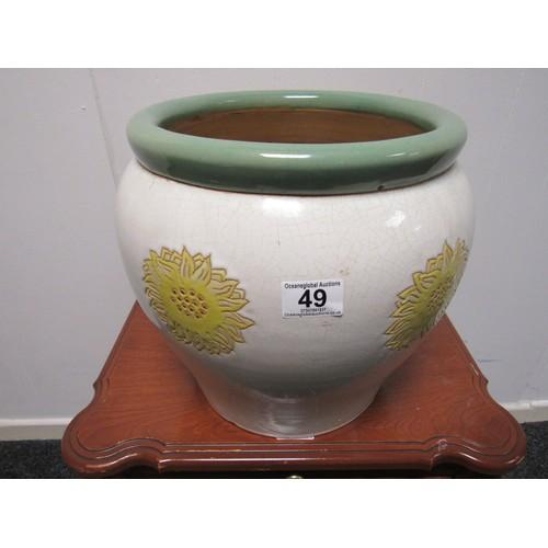 49 - Large stoneware planter with sunflower decoration. 33cm diameter, 29cm h...
