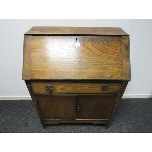51 - Oak bureau in need of restoration 77cm w, 101cm h, 42cm d...