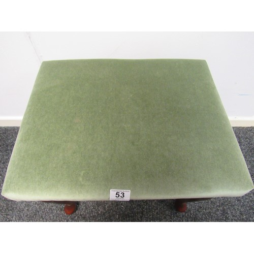 53 - Mahogany, dressing table stool with green draylon fabric seat. 50cm w, 40cm d, 44cm h...