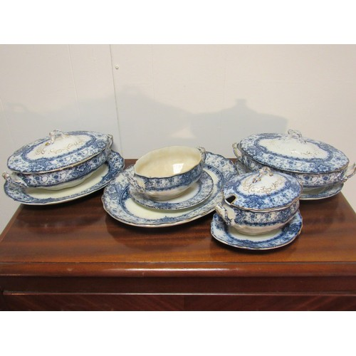 54 - A very fine quantity of Welbeck, opaque, blue and white china, by S H and son, including tureens, ch...