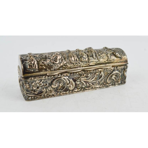 3 - A silver trinket box, embossed with village folk and scrollwork, Birmingham 1909, 2.02toz....