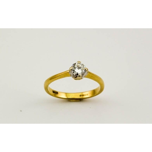68 - An 18ct gold and diamond solitaire, size N, 2.5g, approx 0.5ct diamond....
