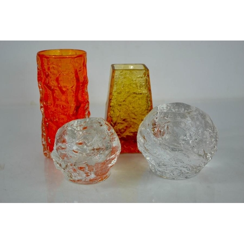 273 - Four examples of mid century Whitefriars style glassware, two orange vases and two boulder form cand...