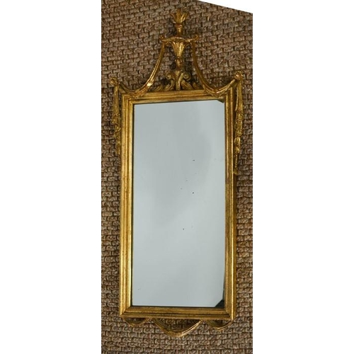 482 - An antique French gilded mirror, 47cms x 110cms