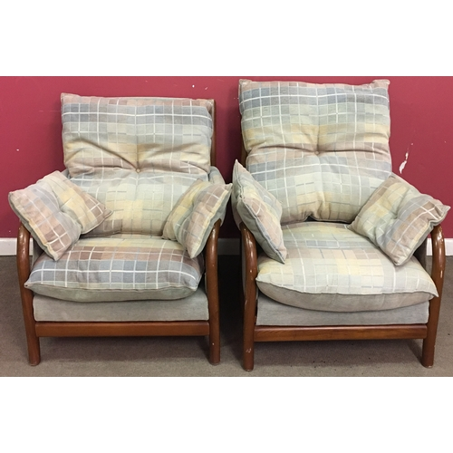 14 - 2 Upholster And  Wood Chairs With Cushions Measures 82x87cm...