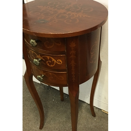 30 - Small Drum Table With Inlay Measures 34cm Round....