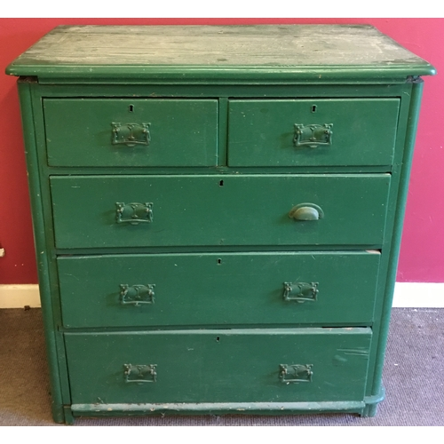 27 - Vintage Green 2 Over 3  Chest Of Drawers Measures 95x50cm...