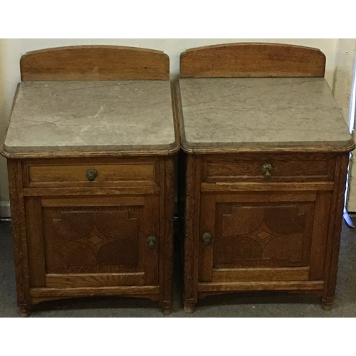 32 - 2 Marble Pot Cupboards / Bedside Units With Marble Tops And Inserts  Measure 40x37cm each...