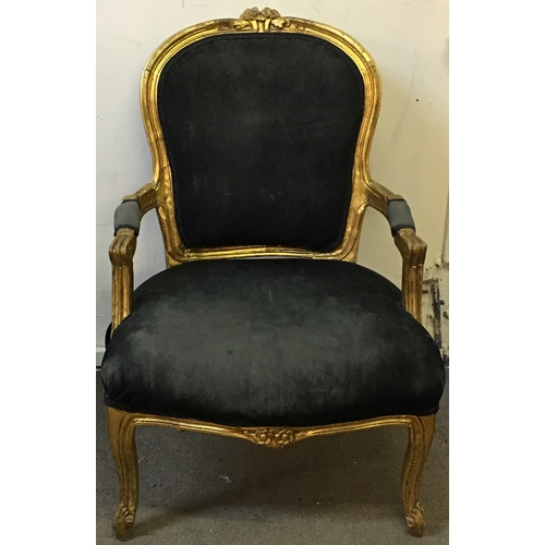 33 - French Louie 16th Style Chair Gold And Black Measures 61x50cm...