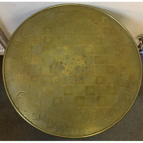 36 - Possibly Islamic Brass Top Table Measures 60cm Round...
