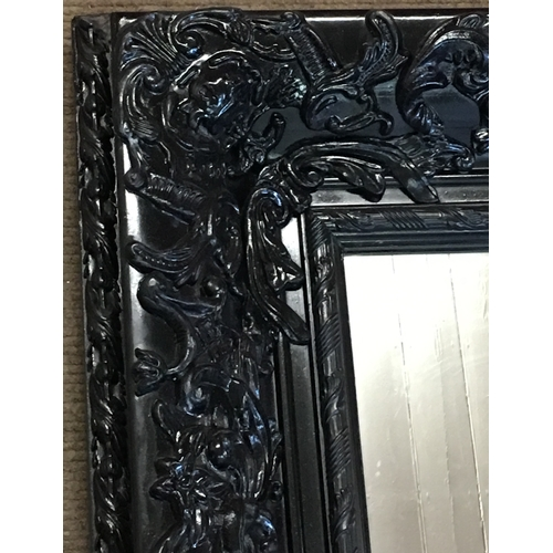 34 - Large Vintage  Wood Carved Mirror With Decoration Measures 128x96cm...