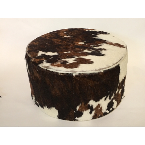 37 - Cow Hide  Foot Stool Measures 45cm Diameter...