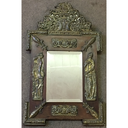 42 - Empire Mirror Wood And Brass Decoration Measures 45x71cm...