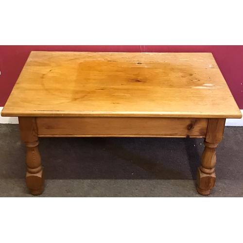 49 - Pine Coffee Table With End Drawer  Measures 91x56cm...