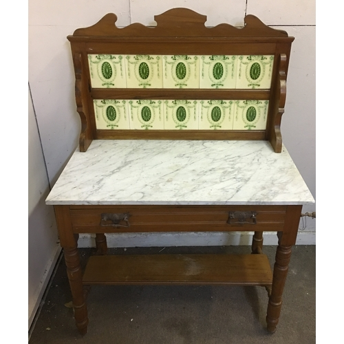 22 - Wash Stand With Marble Top And Tiled Back. Measures 91x48cm...