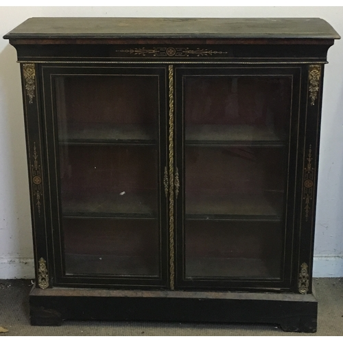 43 - Ebony And Brass Low Bookcase...