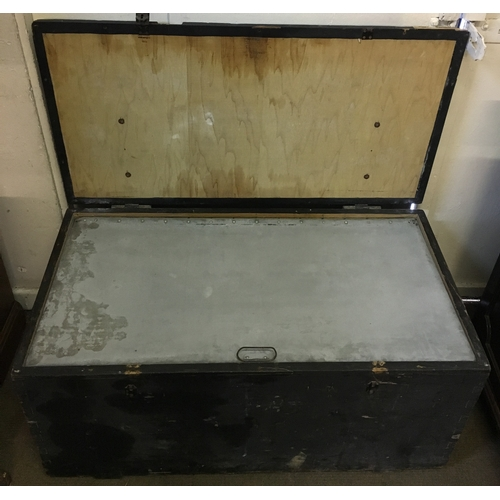 2A - Military Trunk Named 'Col.T Burrows OBE' Singapore, Oxfordshire. Measures 96x50cm...