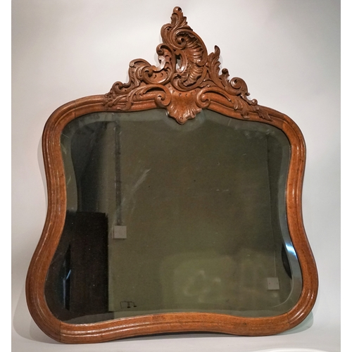 40 - Vintage Carved oak mirror with beveled edge 74cm x 90cm...