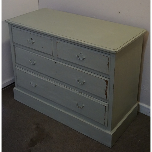 12 - Painted Chest of drawers 2 over 2 measuring 107cm x 47cm x 80cm...