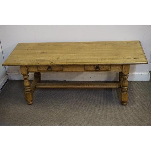 5 - Two drawer oak coffee table 120cm x 50cm x 46cm....