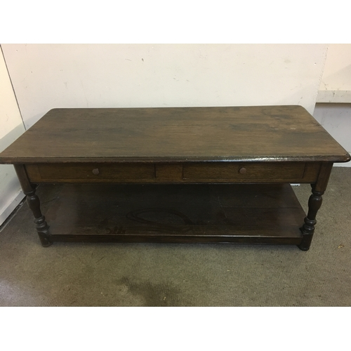 8 - Dark Oak Coffee Table With 2 Drawers Below Measures 125 x 55 x 47 cms...
