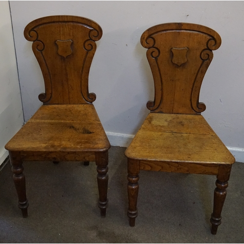 9 - Pair of hall chairs measuring 40cm x 47cm x 89cm...