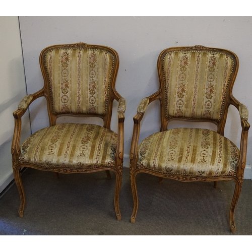 41 - Pair of French Arm chairs both measuring at 50cm x 59cm x 89cm...
