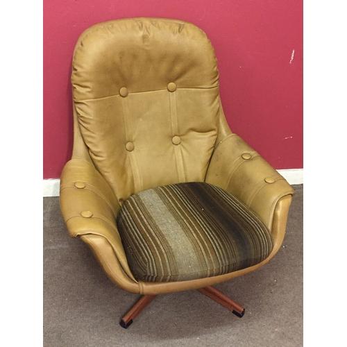 6 - Vintage leather Style Retro swivel chair measuring 86cm x 90cm x 94cm...