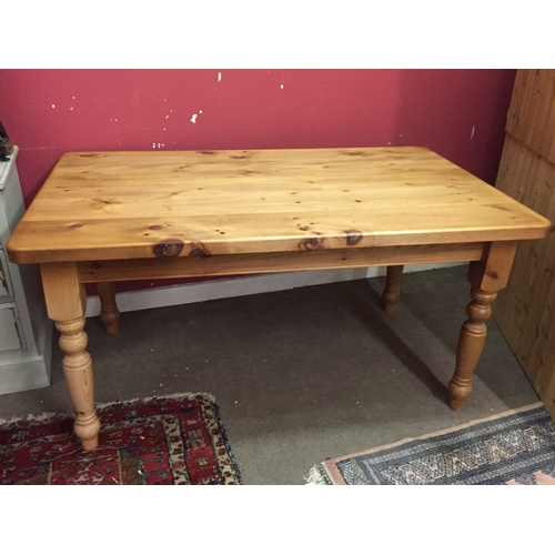 19 - Pine farmhouse table 152cm x 93cm x 78cm high...