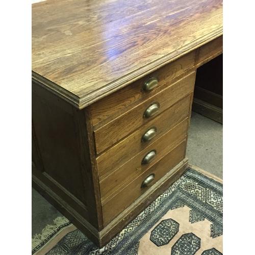 20 - Vintage Solid Oak Partners Desk 182cm x 92cm x 78cm...