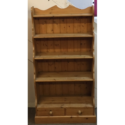 22 - Pine bookshelf with two drawers 79cm x 39cm x 146cm tall...