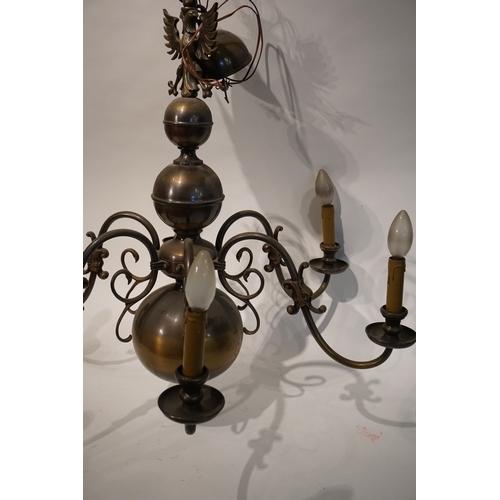 88 - Large Brass 6 branch chandelier...