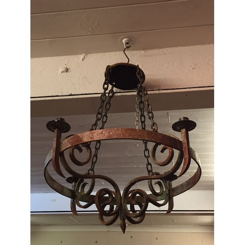 86 - medievil style iron chandelier...